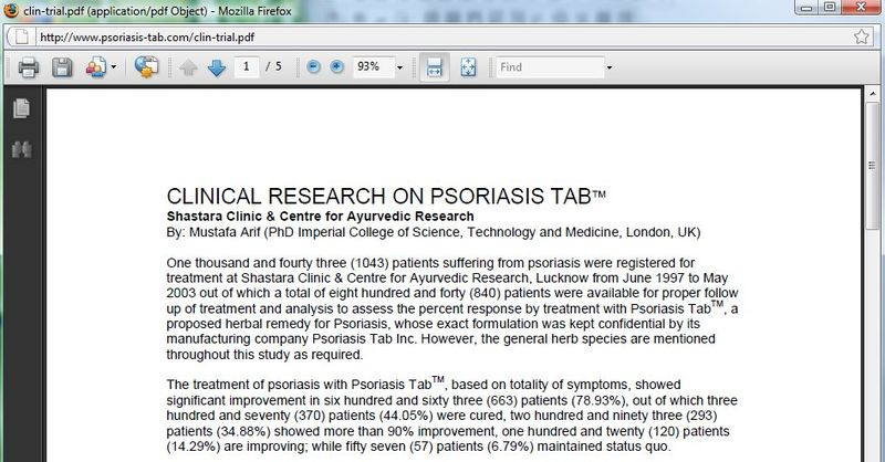 Psoriasis tab research